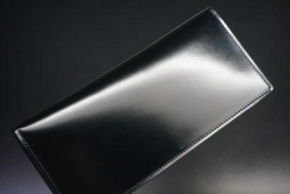 新喜皮革社製オイル仕上げコードバンのブラック色の長財布(小銭入れなしタイプ)-1-1