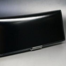 新喜皮革社製オイル仕上げコードバンのブラック色の長財布(小銭入れなしタイプ)-1-2