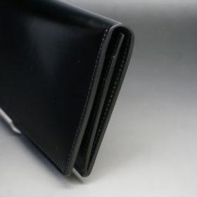 新喜皮革社製オイル仕上げコードバンのブラック色の長財布(小銭入れなしタイプ)-1-3