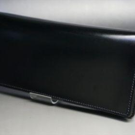 新喜皮革社製オイル仕上げコードバンのブラック色の長財布(小銭入れなしタイプ)-1-4