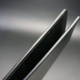 新喜皮革社製オイル仕上げコードバンのブラック色の長財布(小銭入れなしタイプ)-1-5