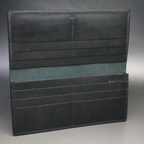 新喜皮革社製オイル仕上げコードバンのブラック色の長財布(小銭入れなしタイプ)-1-7