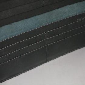 新喜皮革社製オイル仕上げコードバンのブラック色の長財布(小銭入れなしタイプ)-1-8