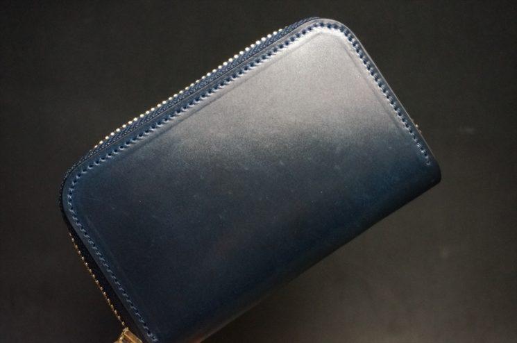 ホーウィン社製シェルコードバンのネイビー色のラウンドファスナー小銭入れ(ゴールド色)-1-1