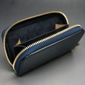 ホーウィン社製シェルコードバンのネイビー色のラウンドファスナー小銭入れ(ゴールド色)-1-10
