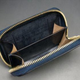 ホーウィン社製シェルコードバンのネイビー色のラウンドファスナー小銭入れ(ゴールド色)-1-11