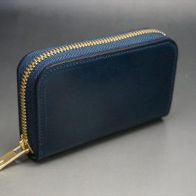 ホーウィン社製シェルコードバンのネイビー色のラウンドファスナー小銭入れ(ゴールド色)-1-2