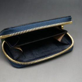 ホーウィン社製シェルコードバンのネイビー色のラウンドファスナー小銭入れ(ゴールド色)-1-7