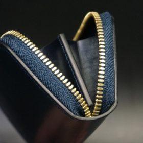 ホーウィン社製シェルコードバンのネイビー色のラウンドファスナー小銭入れ(ゴールド色)-1-9