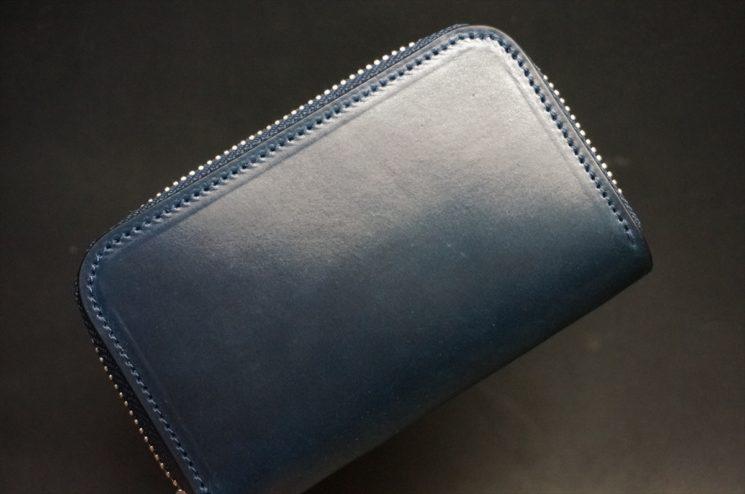 ホーウィン社製シェルコードバンのネイビー色のラウンドファスナー小銭入れ(シルバー色)-1-1