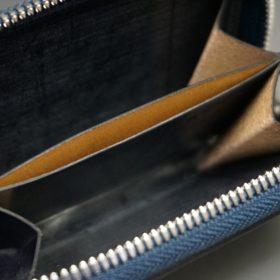 ホーウィン社製シェルコードバンのネイビー色のラウンドファスナー小銭入れ(シルバー色)-1-12