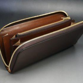 ホーウィン社製シェルコードバンの#4色のラウンドファスナー長財布(ゴールド色)-1-10