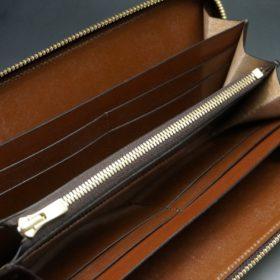 ホーウィン社製シェルコードバンの#4色のラウンドファスナー長財布(ゴールド色)-1-11