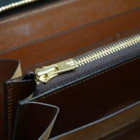 ホーウィン社製シェルコードバンの#4色のラウンドファスナー長財布(ゴールド色)-1-12