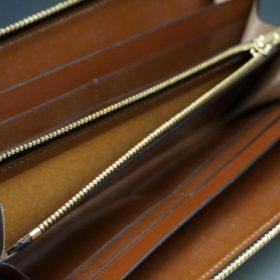 ホーウィン社製シェルコードバンの#4色のラウンドファスナー長財布(ゴールド色)-1-13