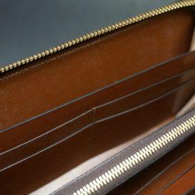 ホーウィン社製シェルコードバンの#4色のラウンドファスナー長財布(ゴールド色)-1-14