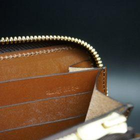 ホーウィン社製シェルコードバンの#4色のラウンドファスナー長財布(ゴールド色)-1-15