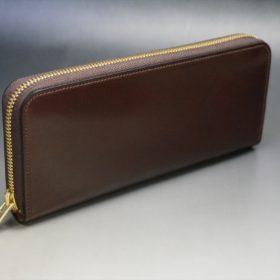 ホーウィン社製シェルコードバンの#4色のラウンドファスナー長財布(ゴールド色)-1-2