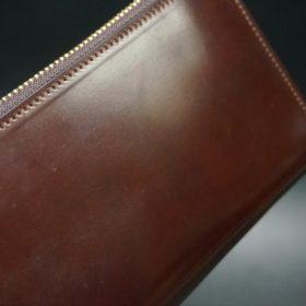 ホーウィン社製シェルコードバンの#4色のラウンドファスナー長財布(ゴールド色)-1-3