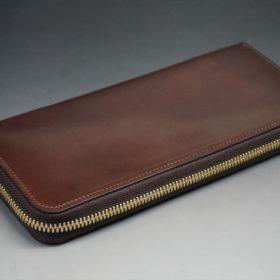 ホーウィン社製シェルコードバンの#4色のラウンドファスナー長財布(ゴールド色)-1-6