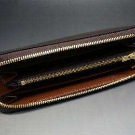 ホーウィン社製シェルコードバンの#4色のラウンドファスナー長財布(ゴールド色)-1-7