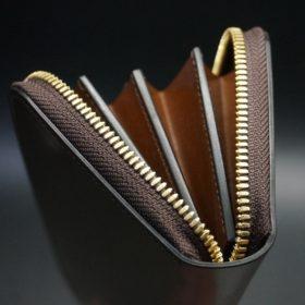 ホーウィン社製シェルコードバンの#4色のラウンドファスナー長財布(ゴールド色)-1-9