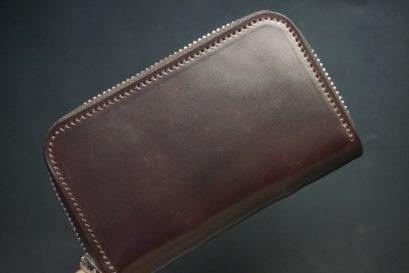 ホーウィン社製シェルコードバンのバーガンディ色のラウンドファスナー小銭入れ(シルバー色)-2-1