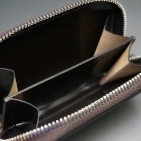 ホーウィン社製シェルコードバンのバーガンディ色のラウンドファスナー小銭入れ(シルバー色)-2-11