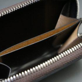 ホーウィン社製シェルコードバンのバーガンディ色のラウンドファスナー小銭入れ(シルバー色)-2-12