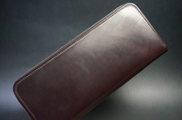 ホーウィン社製シェルコードバンのバーガンディ色のラウンドファスナー長財布(シルバー色)-1-1