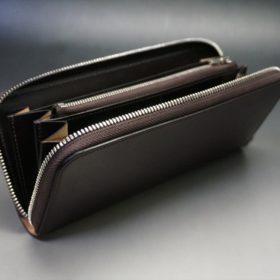 ホーウィン社製シェルコードバンのバーガンディ色のラウンドファスナー長財布(シルバー色)-1-10