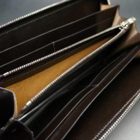 ホーウィン社製シェルコードバンのバーガンディ色のラウンドファスナー長財布(シルバー色)-1-13