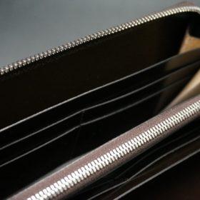 ホーウィン社製シェルコードバンのバーガンディ色のラウンドファスナー長財布(シルバー色)-1-14