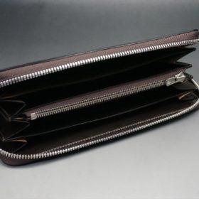 ホーウィン社製シェルコードバンのバーガンディ色のラウンドファスナー長財布(シルバー色)-1-7