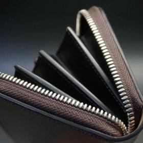 ホーウィン社製シェルコードバンのバーガンディ色のラウンドファスナー長財布(シルバー色)-1-9