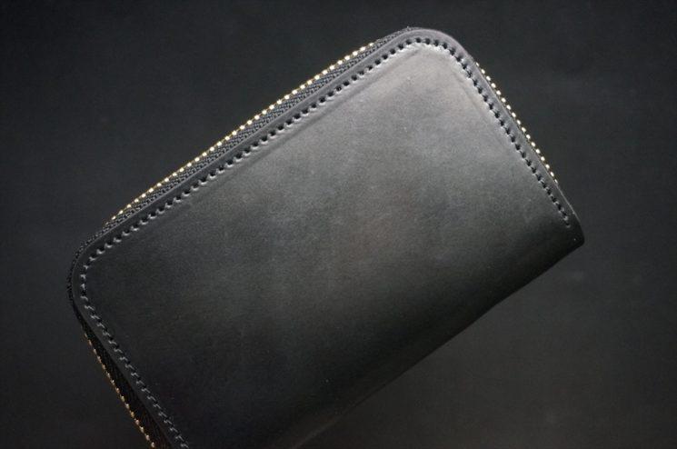 ホーウィン社製シェルコードバンのブラック色のラウンドファスナー小銭入れ(ゴールド色)-1-1