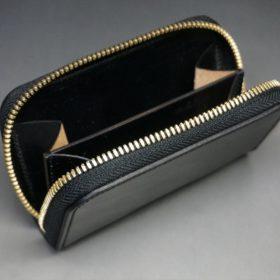 ホーウィン社製シェルコードバンのブラック色のラウンドファスナー小銭入れ(ゴールド色)-1-11