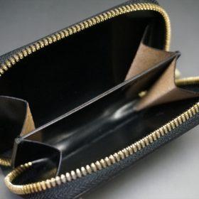 ホーウィン社製シェルコードバンのブラック色のラウンドファスナー小銭入れ(ゴールド色)-1-12