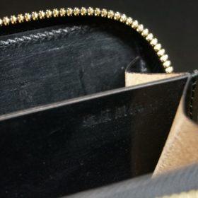 ホーウィン社製シェルコードバンのブラック色のラウンドファスナー小銭入れ(ゴールド色)-1-14