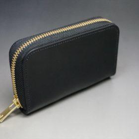 ホーウィン社製シェルコードバンのブラック色のラウンドファスナー小銭入れ(ゴールド色)-1-2