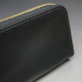 ホーウィン社製シェルコードバンのブラック色のラウンドファスナー小銭入れ(ゴールド色)-1-3
