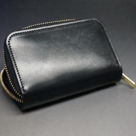 ホーウィン社製シェルコードバンのブラック色のラウンドファスナー小銭入れ(ゴールド色)-1-8