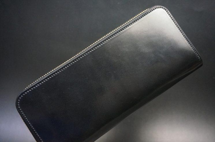 ホーウィン社製シェルコードバンのブラック色のラウンドファスナー長財布(ゴールド色)-1-1
