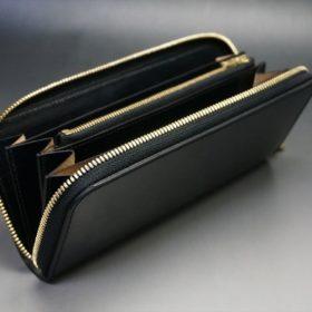 ホーウィン社製シェルコードバンのブラック色のラウンドファスナー長財布(ゴールド色)-1-10