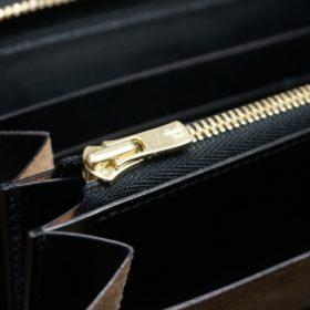 ホーウィン社製シェルコードバンのブラック色のラウンドファスナー長財布(ゴールド色)-1-12