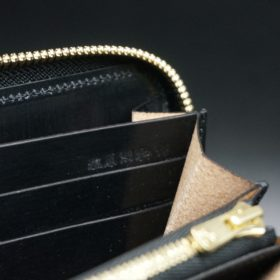 ホーウィン社製シェルコードバンのブラック色のラウンドファスナー長財布(ゴールド色)-1-15