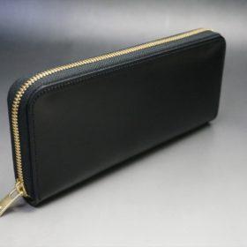 ホーウィン社製シェルコードバンのブラック色のラウンドファスナー長財布(ゴールド色)-1-2