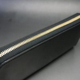 ホーウィン社製シェルコードバンのブラック色のラウンドファスナー長財布(ゴールド色)-1-4