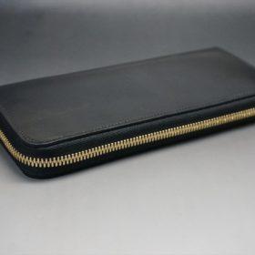 ホーウィン社製シェルコードバンのブラック色のラウンドファスナー長財布(ゴールド色)-1-6