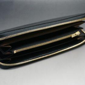 ホーウィン社製シェルコードバンのブラック色のラウンドファスナー長財布(ゴールド色)-1-7